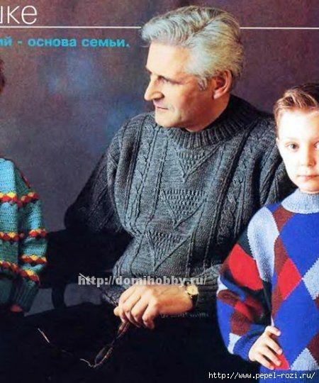 Красивый мужской свитер крючком с рельефными жгутами