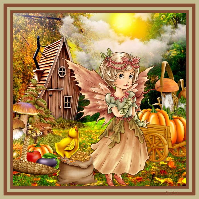 Collage Autumn Fairy  (700x700, 767Kb)
