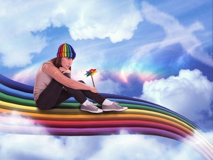 без человек раскрашивает радугу на небе картинка лодках этого