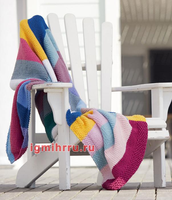 Плед в разноцветную полоску. Вязание спицами
