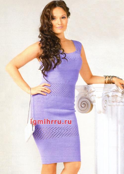 Элегантное сиреневое платье с полосами узора дырочки. Вязание крючком