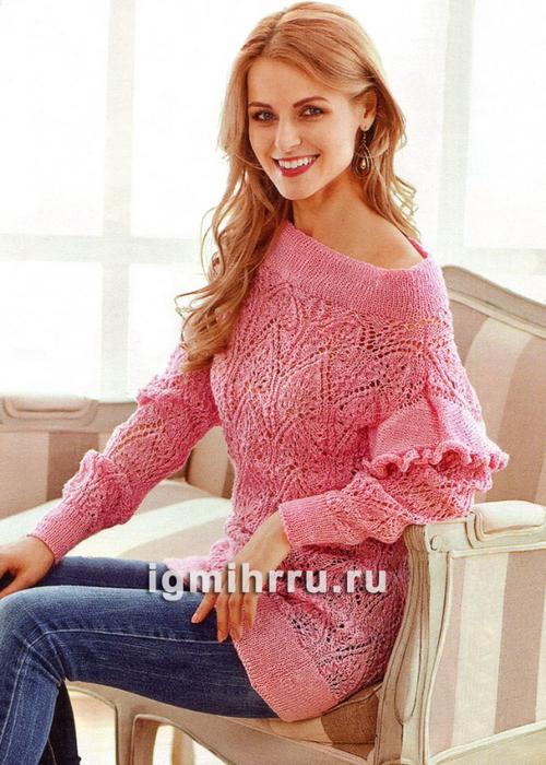 Розовая ажурная туника. Вязание спицами