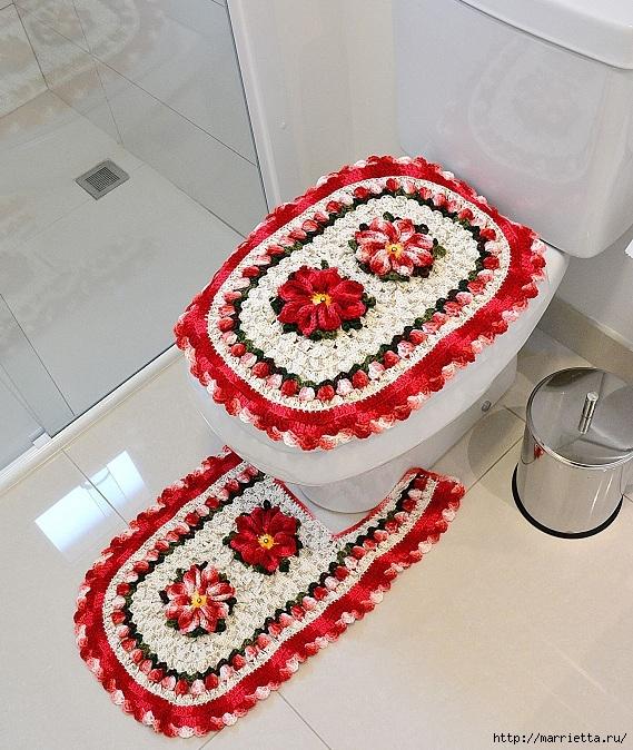 Рождественский вязаный комплект ковриков для ванной комнаты (2) (569x674, 333Kb)
