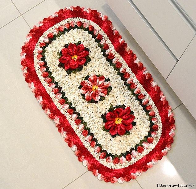 Рождественский вязаный комплект ковриков для ванной комнаты (4) (635x611, 383Kb)