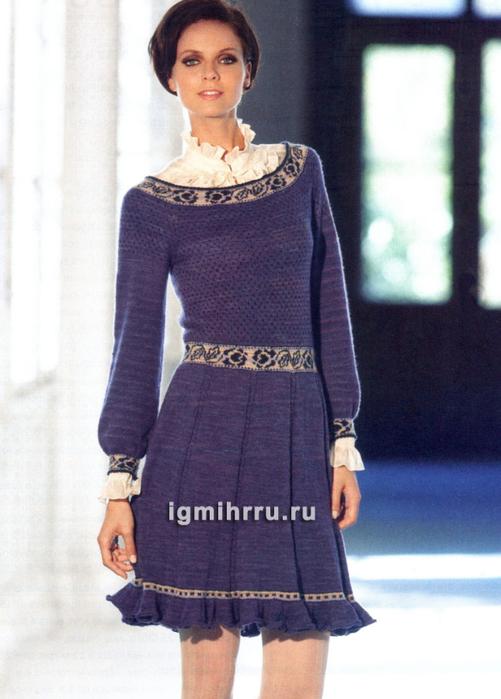 Платье с узорными вставками и расклешенной юбкой. Вязание спицами