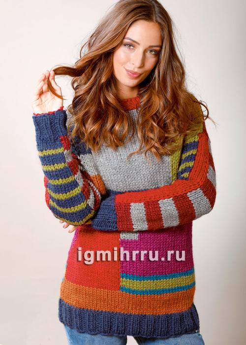 Яркий теплый пуловер в стиле колор-блокинг. Вязание спицами