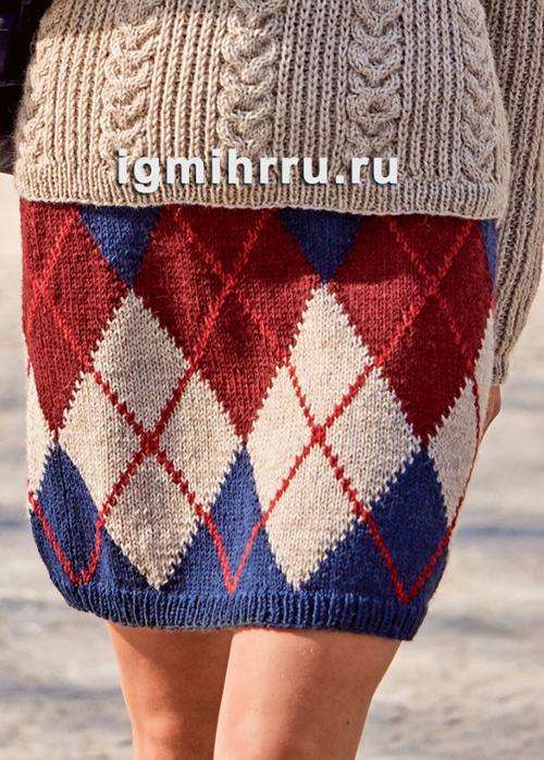 Прямая юбка с узором из ромбов. Вязание спицами