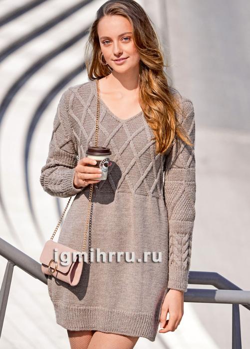 Элегантное шерстяное платье с миксом узоров. Вязание спицами