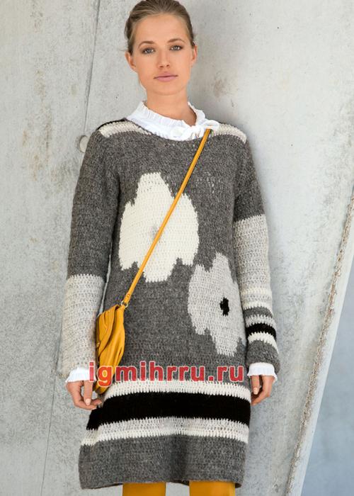 Шерстяное мини-платье с крупными цветочными мотивами. Вязание крючком