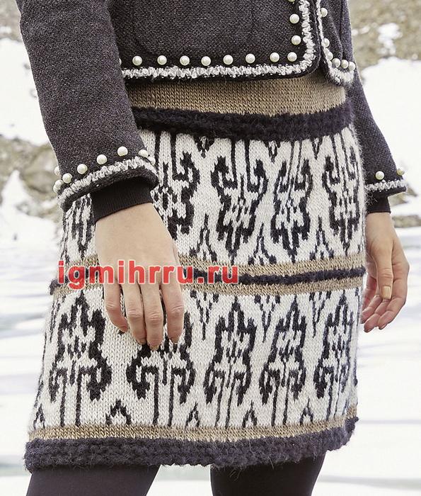 Теплая мини-юбка с жаккардовым узором. Вязание спицами