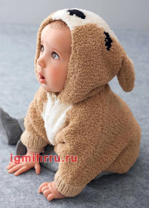 Для малыша 3-24 месяцев. Пончо с капюшоном Бэмби. Вязание спицами