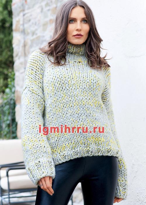 Объемный свитер крупной вязки. Вязание спицами