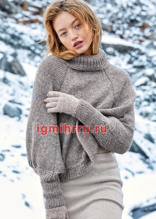 Мягкий шерстяной свитер-пончо с воротником гольф. Вязание спицами