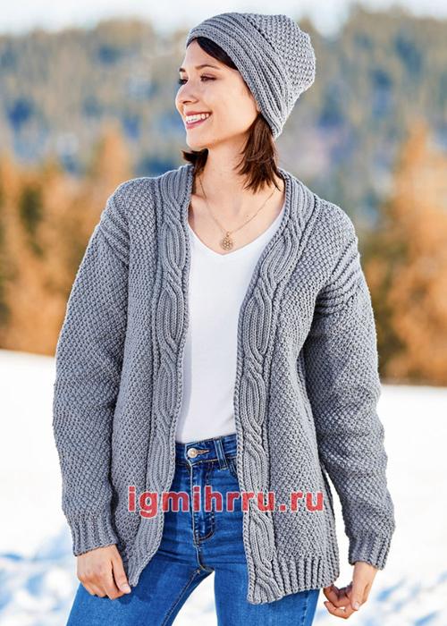 Серый шерстяной комплект с отделкой косами: жакет и шапочка. Вязание спицами