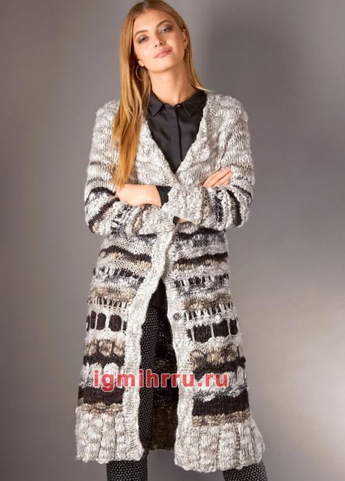 Пальто А-силуэта в полоску. Вязание спицами