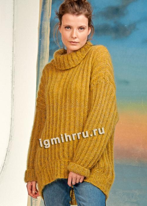 Мохеровый свитер с закругленной линией низа. Вязание спицами