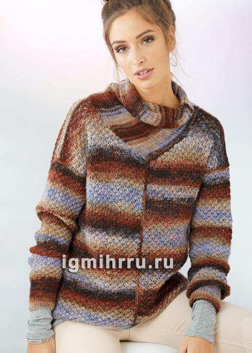Пуловер в асимметричную многоцветную полоску. Вязание спицами