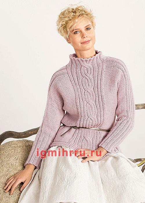 Сиреневый пуловер с центральной косой. Вязание спицами
