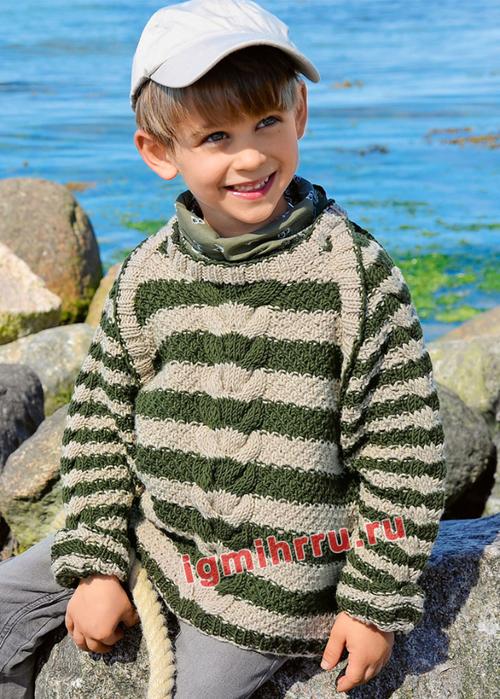 Для мальчика 3-9 лет. Теплый пуловер в полоску с узором коса. Вязание спицами