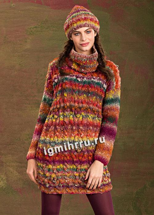 Разноцветное мини-платье, дополненное шапочкой. Вязание спицами