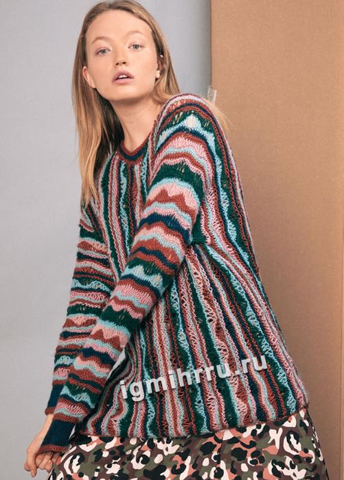 Пестрый пуловер в продольную полоску. Вязание спицами