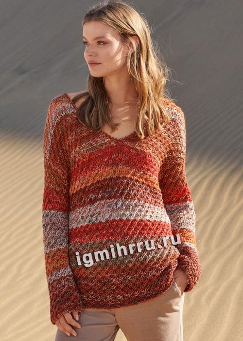 Разноцветный пуловер с узором Звездочки. Вязание спицами