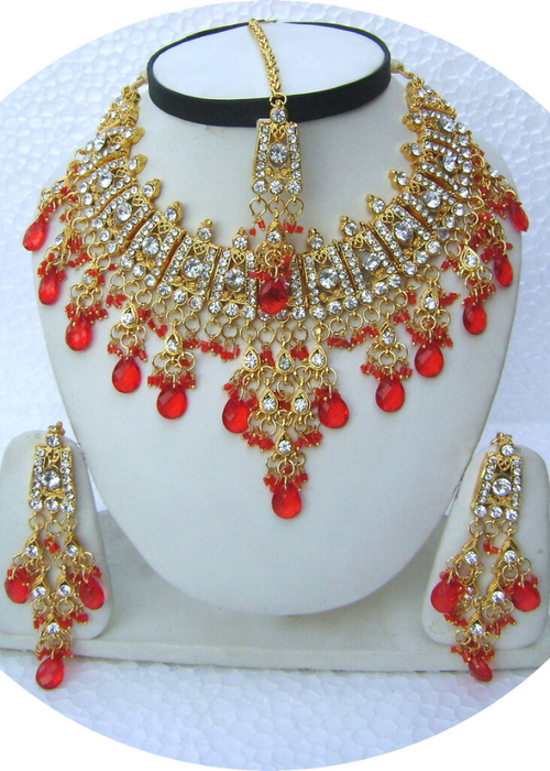 Hot-Red-Choker-Golden-Base-Necklace-Set-with-Tika[1] (500x700, 451Kb)