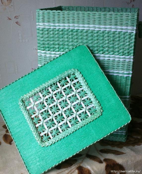 Плетение из газет. Мастер-класс на крышку с цветным узором из трубочек (22) (572x700, 405Kb)