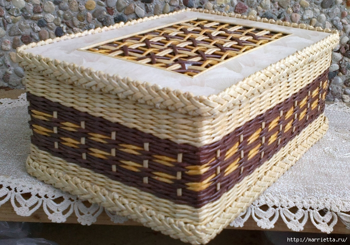 Плетение из газет. Мастер-класс на крышку с цветным узором из трубочек (26) (700x490, 345Kb)
