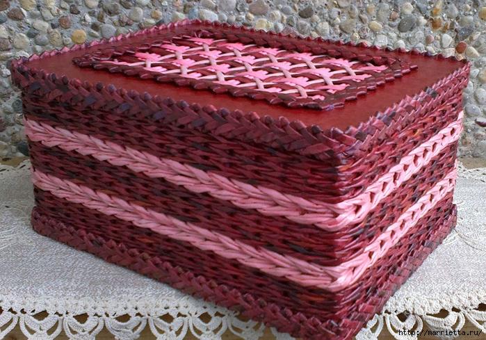 Плетение из газет. Мастер-класс на крышку с цветным узором из трубочек (32) (699x489, 376Kb)