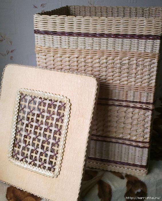 Плетение из газет. Мастер-класс на крышку с цветным узором из трубочек (34) (566x700, 397Kb)