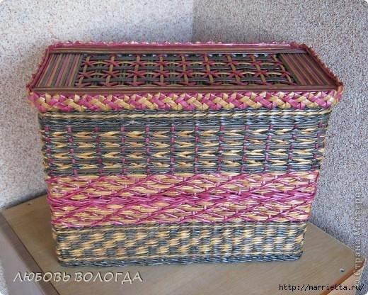 Плетение из газет. Мастер-класс на крышку с цветным узором из трубочек (36) (520x416, 216Kb)