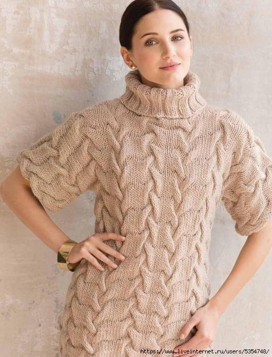 Пуловер с узором «ромбовые косы»