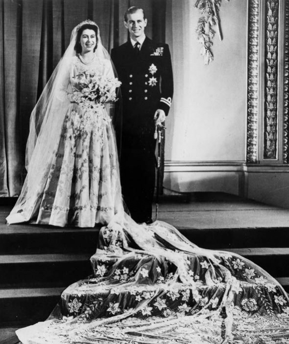 Queen Elizabeth II and The Duke of Edinburgh pictured on their wedding day at Buckingham Palace on 20th November 1947.
