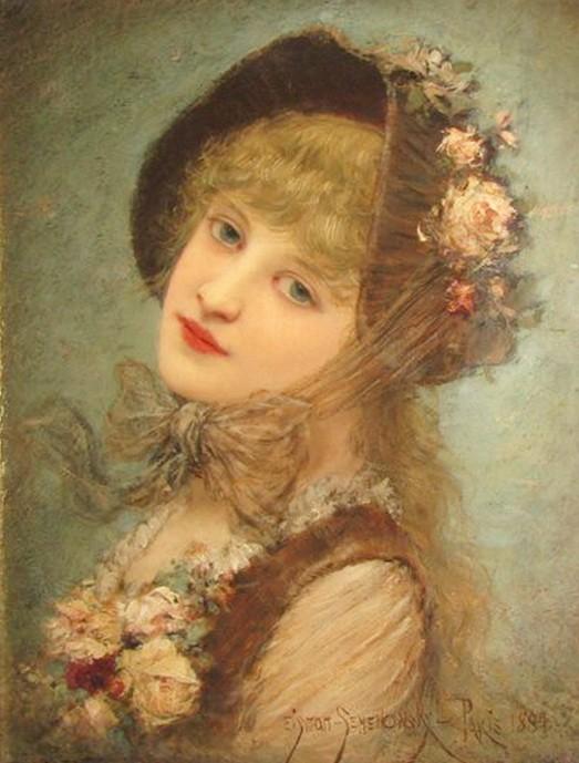 Eisman-Semenowsky - Beautiful girl in rose hat.