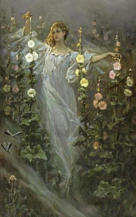 Wilhelm Kotarbinski - Girl between hollyhocks