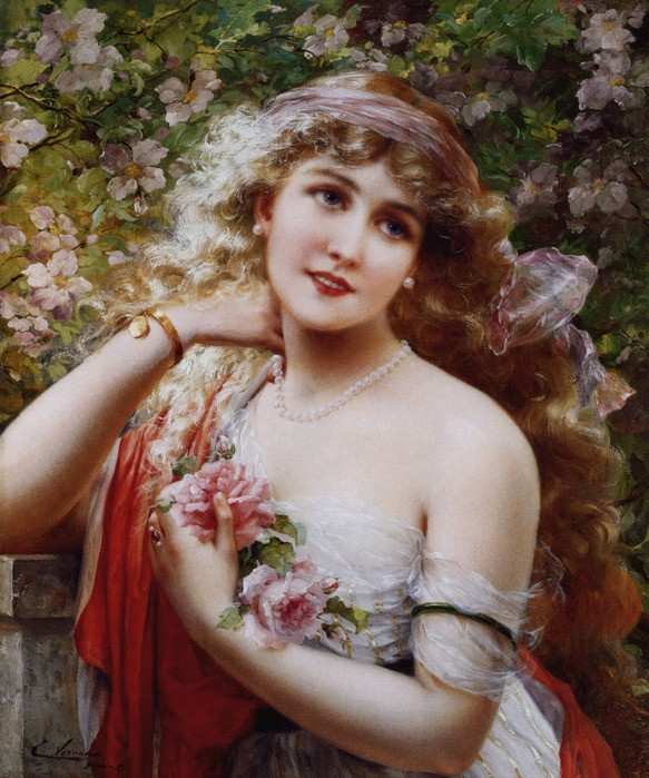Vernon Emile - Young lady with roses.