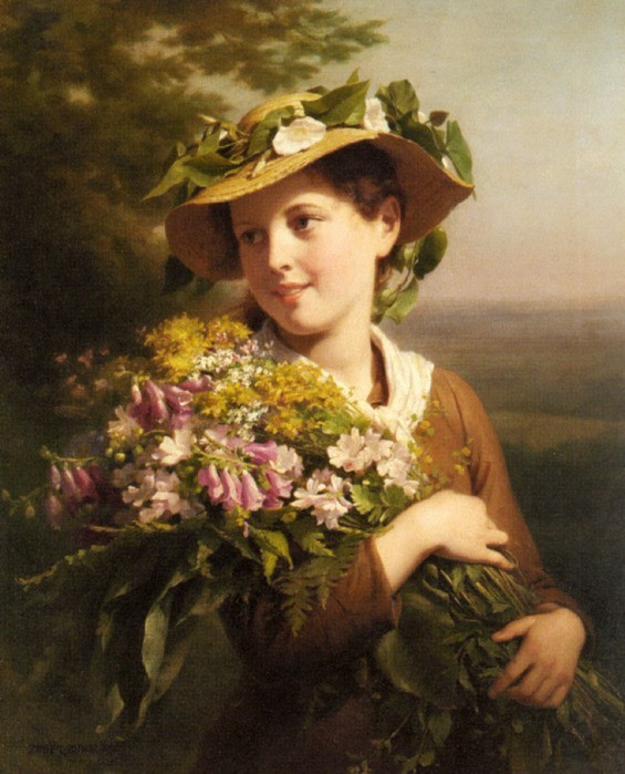 Zuber Buhler Fritz - A young beauty holding a bouquet of flowers