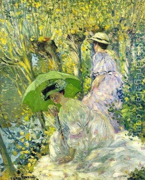 Frederick Carl Frieseke : Two Young Women in a Garden