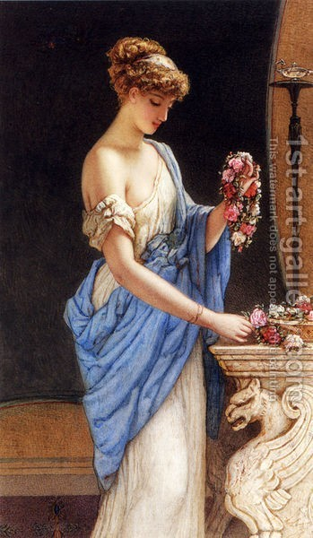 Auguste Jules Bouvier, N.W.S. : A Girl In Classical Dress Arranging A Garland Of Flowers