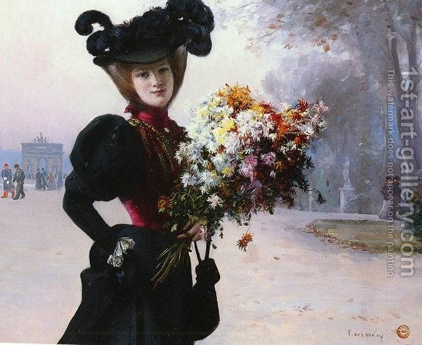 Fernand de Launay : La Femme Au Fleurs, Jardin Du Tuileries