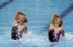 Ковача и Ката Штумпф (Dorottya Kovacs and Kata Stumpf) из Венгрии. Выступление пар на чемпионате Европы по синхронному плаванию в Будапеште, 5 августа 2010 года.