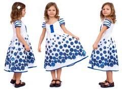 летнее платье для девочки (с синей вышивкой)