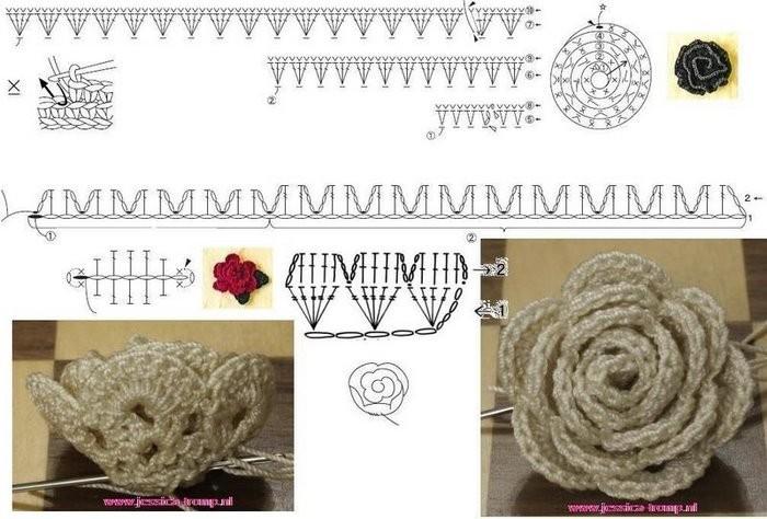 схемы вязания крючком цветов для начинающих. крючком цветок, вязание.
