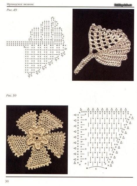 Рхемы вязания цветов и листьев в ирландском вязании.