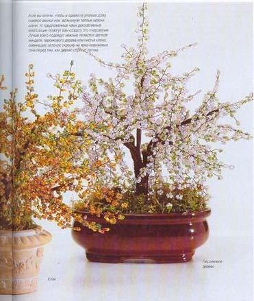Миниатюрные деревья из бисера.