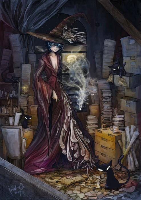 И скромную тихую ведьму,не онимэ.  С блондинами-магами сложнее.