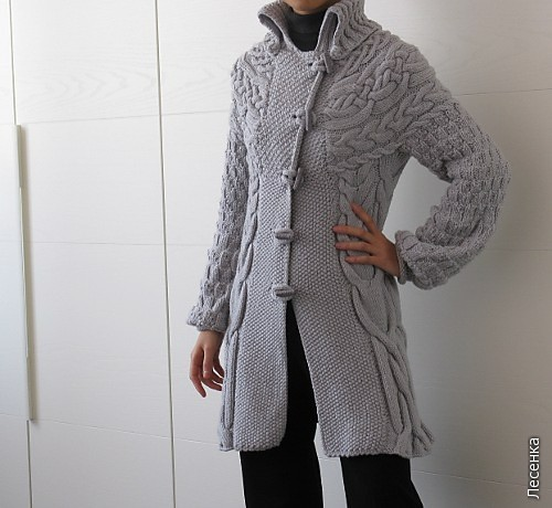 вязаное пальто с капюшоном для.  Вязаные пальто - схемы вязания пальто.