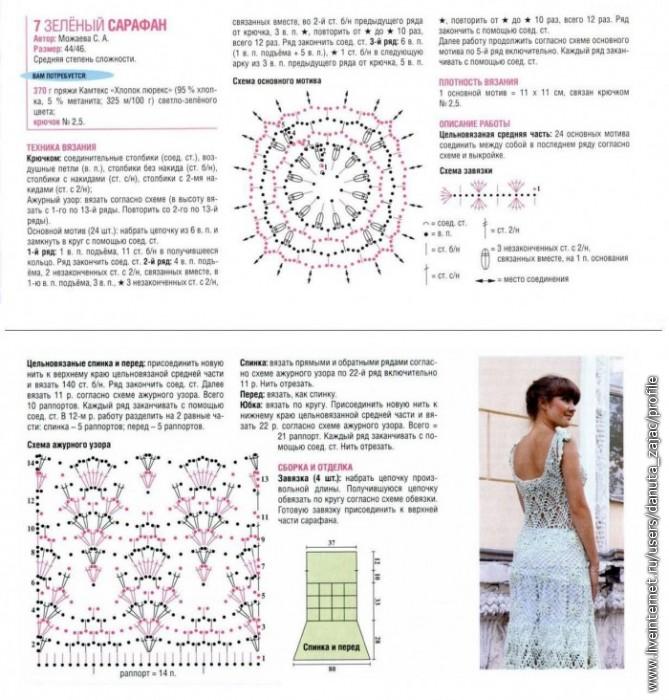 119 Розовое летнее платье крючком схема.