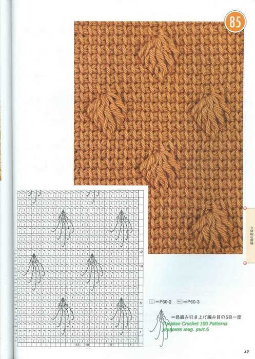 журнал со схемами тунисского вязания крючком.
